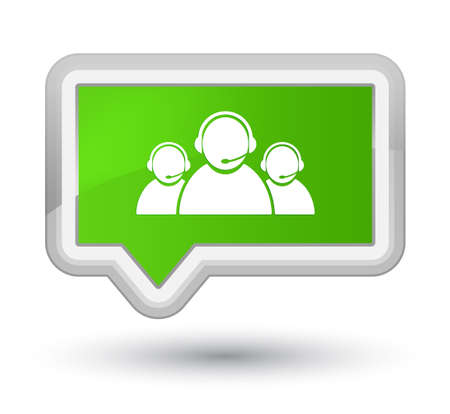 prime: Customer care team icon isolated on prime soft green banner button abstract illustration Stock Photo