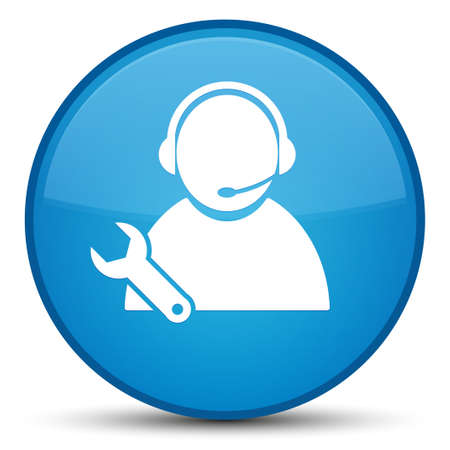 Tech support icon isolated on special cyan blue round button abstract illustration