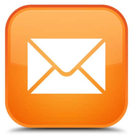 特別なオレンジ色の正方形ボタンの抽象的なイラストに分離された e メール ・ アイコン 写真素材
