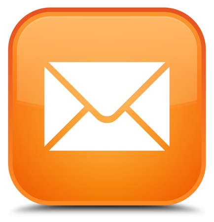 Email icon isolated on special orange square button abstract illustration Banco de Imagens