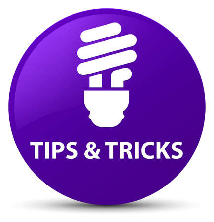 Tips and tricks (bulb icon) isolated on purple round button abstract illustration Stock Photo