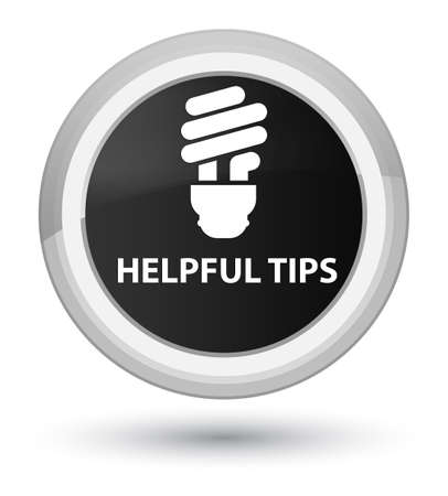 Helpful tips (bulb icon) isolated on prime black round button abstract illustration
