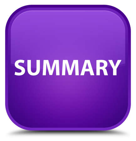 Summary isolated on special purple square button abstract illustration