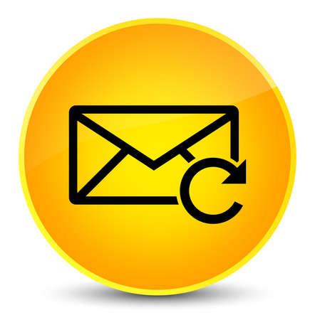 Erneuern Sie die E-Mail-Ikone, die auf eleganter gelber runder Knopfzusammenfassungsillustration lokalisiert wird
