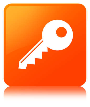 Key icon isolated on orange square button reflected abstract illustration