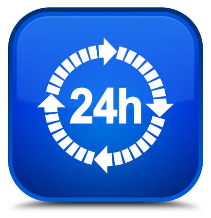 24 hours delivery icon isolated on special blue square button abstract illustration