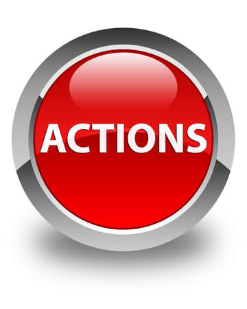 Actions isolated on glossy red round button abstract illustration Фото со стока
