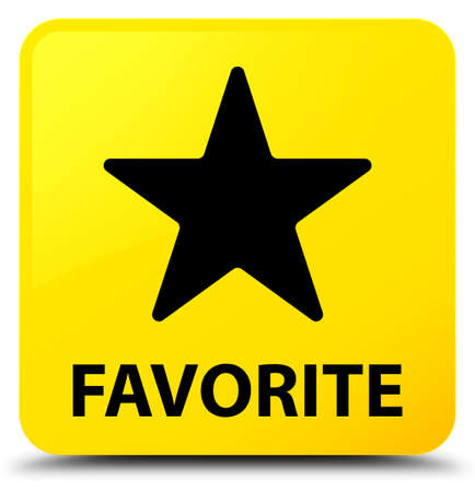 Favorite (star icon) isolated on yellow square button abstract illustration Stock Photo