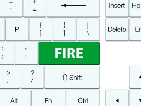 緑のキーボードボタンの抽象的なイラストに孤立した火災