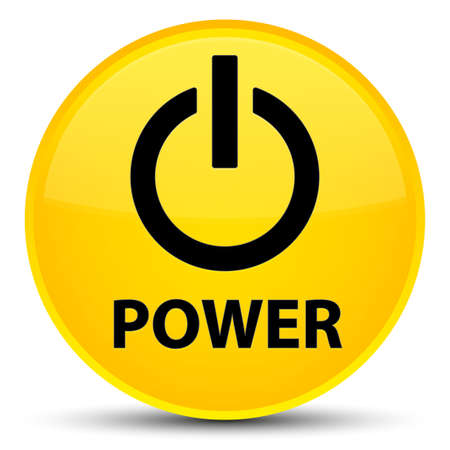 Power isolated on special yellow round button abstract illustration