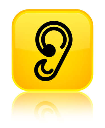 Ear icon isolated on special yellow square button reflected abstract illustration