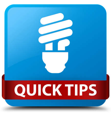 Quick tips (bulb icon) isolated on cyan blue square button with red ribbon in middle abstract illustration
