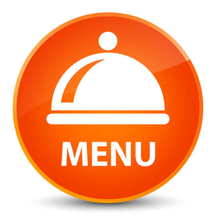 Menu (food dish icon) isolated on elegant orange round button abstract illustration