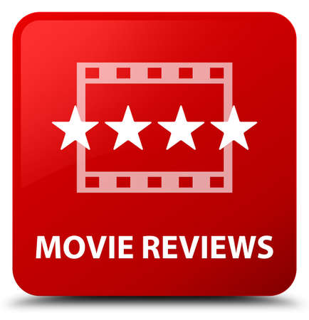 Movie reviews isolated on red square button abstract illustration
