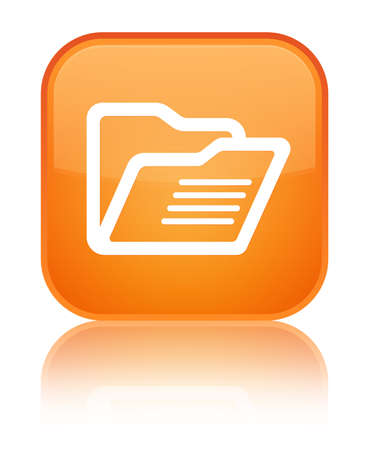 Folder icon isolated on special orange square button reflected abstract illustration