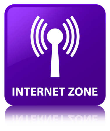 Internet zone (wlan network) isolated on purple square button reflected abstract illustration