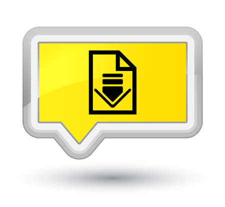 Download document icon isolated on prime yellow banner button abstract illustration Stock Photo