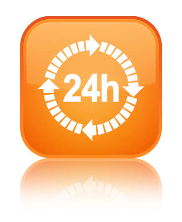 24 hours delivery icon isolated on special orange square button reflected abstract illustration Stock Photo