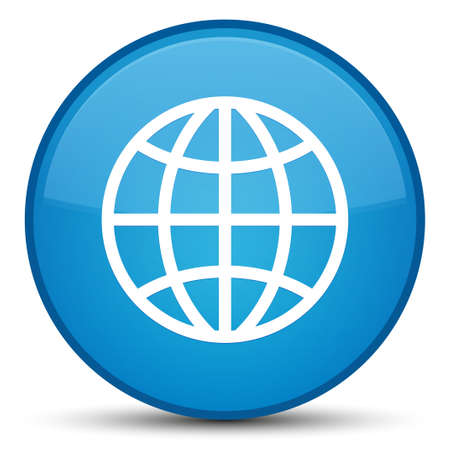 World icon isolated on special cyan blue round button abstract illustration Stock Photo