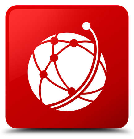Global network icon isolated on red square button abstract illustration Stock Photo