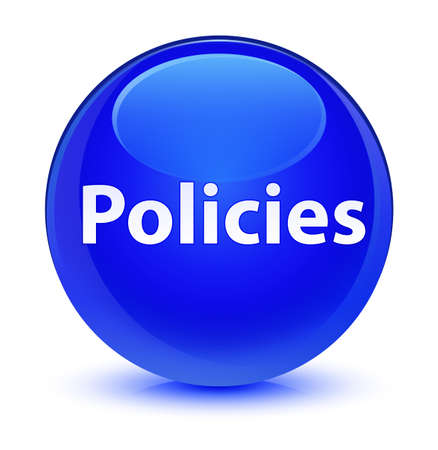 Policies isolated on glassy blue round button abstract illustration