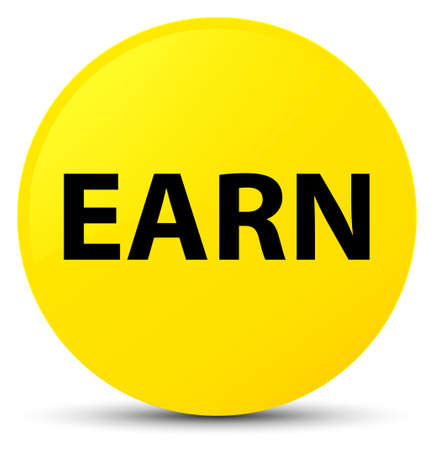 Earn isolated on yellow round button abstract illustration