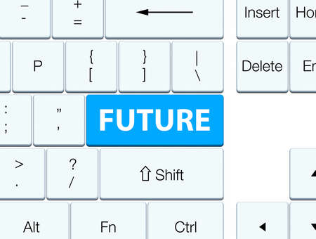 Future isolated on cyan blue keyboard button abstract illustration
