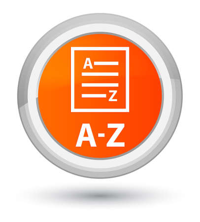 A-Z (list page icon) isolated on prime orange round button abstract illustration
