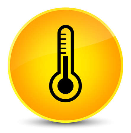 Thermometer icon isolated on elegant yellow round button abstract illustration