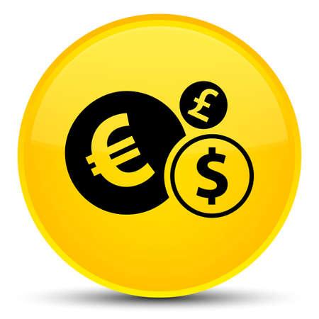 Finances icon isolated on special yellow round button abstract illustration