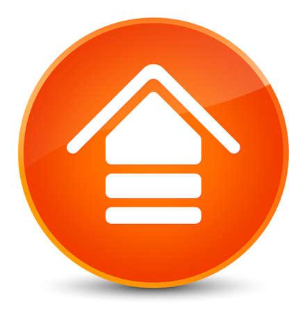 Upload icon isolated on elegant orange round button abstract illustration
