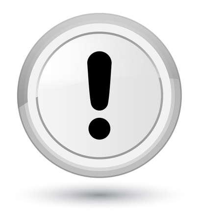 Icône de point d'exclamation isolé sur l'illustration abstraite de bouton rond blanc premier