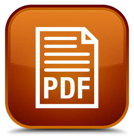 PDF document icon isolated on special brown square button abstract illustration Stock Photo