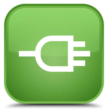 Connect icon isolated on special soft green square button abstract illustration