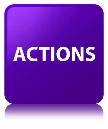 Actions isolated on purple square button reflected abstract illustration