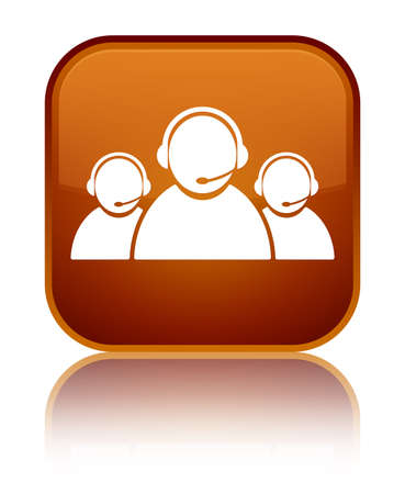 representative: Customer care team icon isolated on special brown square button reflected abstract illustration