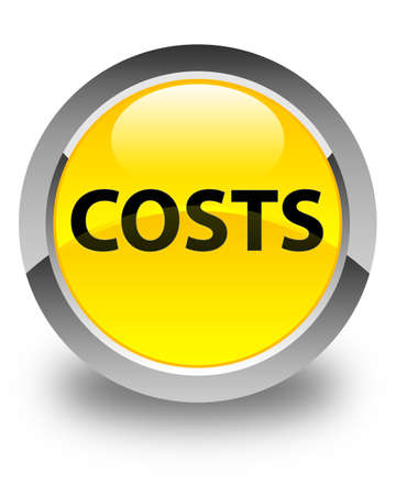 Costs isolated on glossy yellow round button abstract illustration