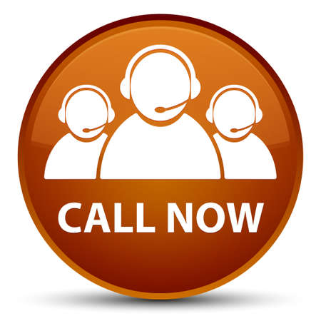 Call now (customer care team icon) isolated on special brown round button abstract illustration