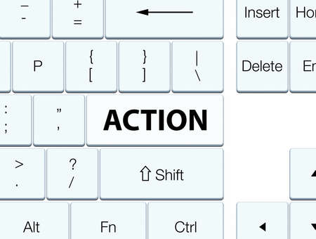 Action isolated on white keyboard button abstract illustration Stok Fotoğraf - 90392461