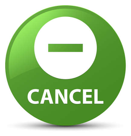 Cancel isolated on soft green round button abstract illustration Stock Photo
