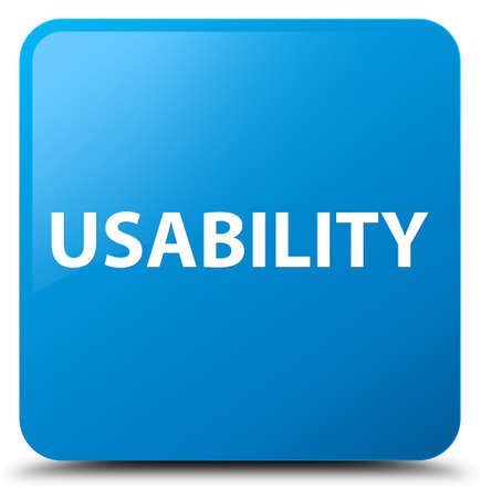 Usability isolated on cyan blue square button abstract illustration Stock Photo