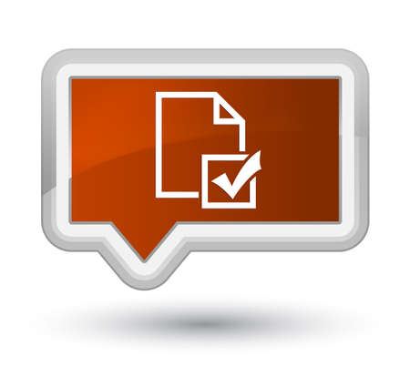 Survey icon isolated on prime brown banner button abstract illustration