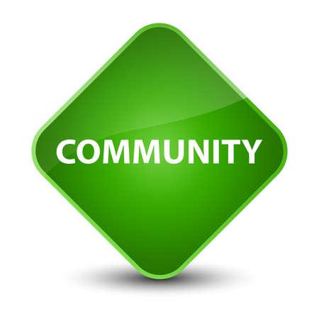 Community isolated on elegant green diamond button abstract illustration Stock Photo