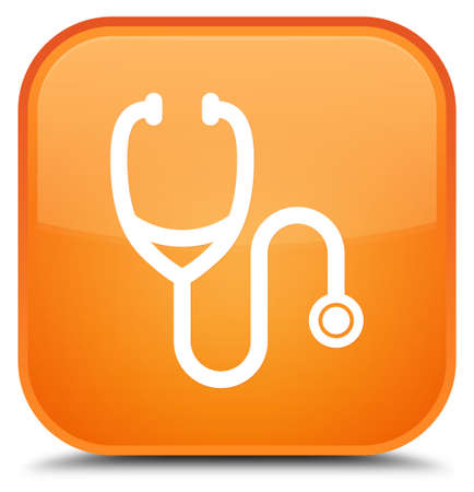 Stethoscope icon isolated on special orange square button abstract illustration