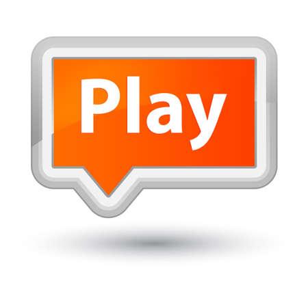 プライムオレンジのバナーボタンの抽象的なイラストで分離プレイ