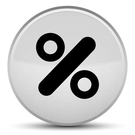 percentage: Discount icon isolated on special white round button abstract illustration Stock Photo
