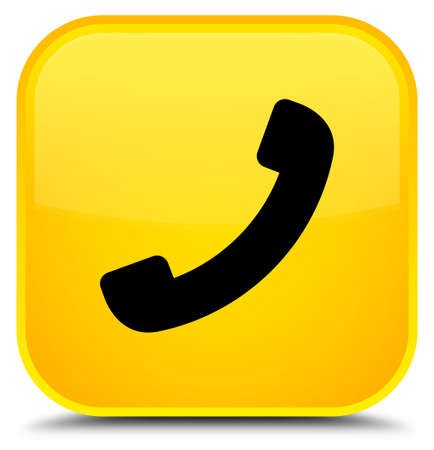 Phone icon isolated on special yellow square button abstract illustration