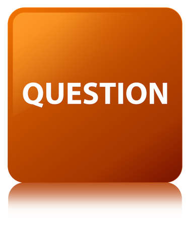 Question isolated on brown square button reflected abstract illustration Stock Photo