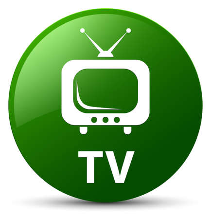 TV isolated on green round button abstract illustration Stock Photo