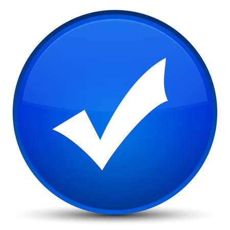 Icône de validation isolé sur l'illustration abstraite de bouton rond bleu spécial